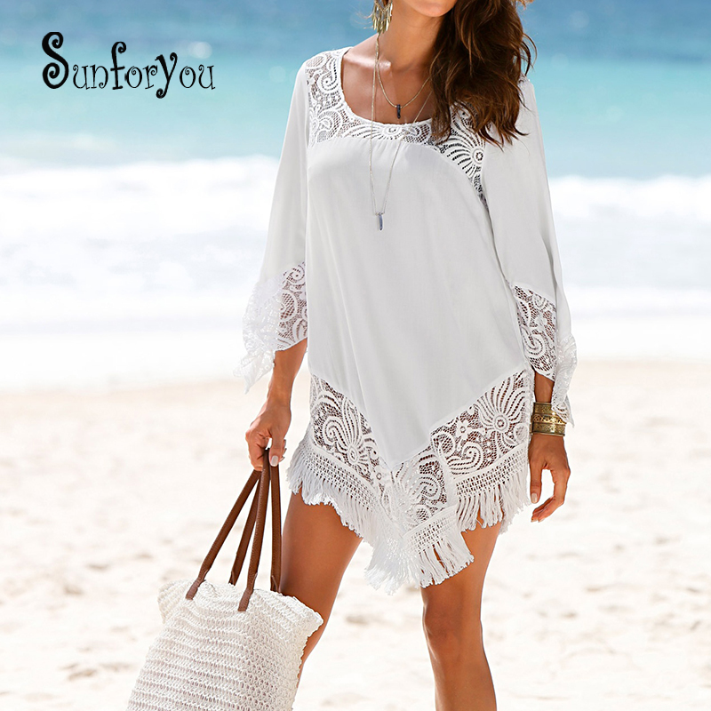 Swim Cover Up  Beach Tunic Swimsuit Tunic For Beach 2019 Bathing Suit Cover Ups Lace Bikini Cover Up Saida De Praia Beach Wear