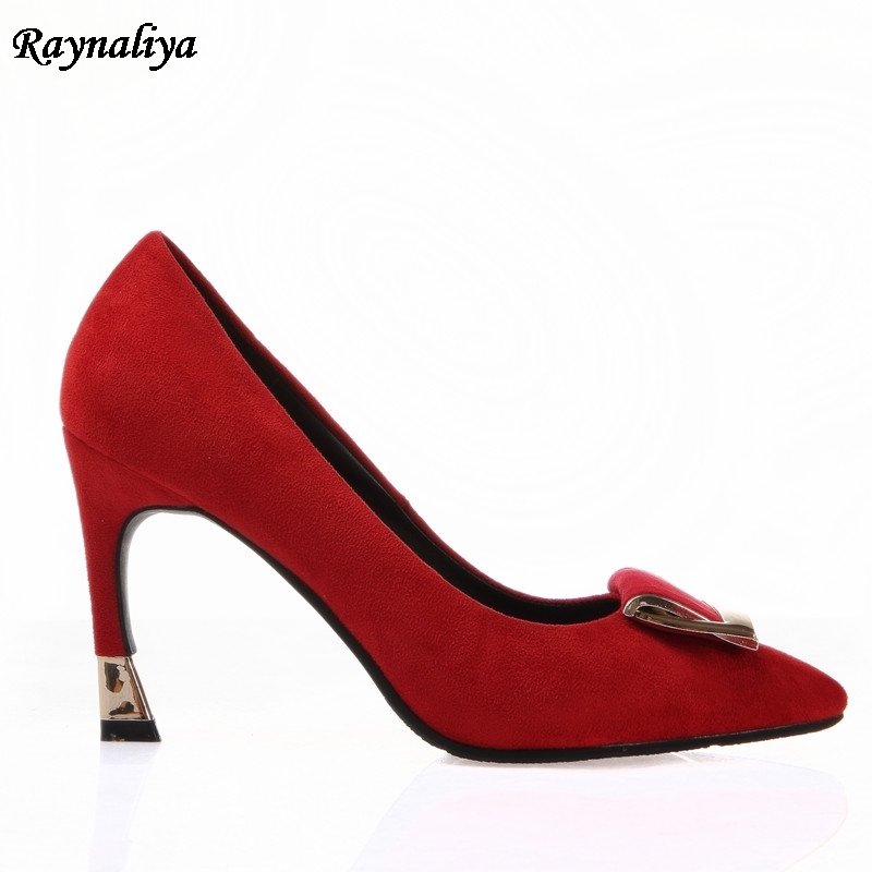7600d56634 2018 New High Heels Women Pumps Thin Heel Classic Green Red Black Beige  Sexy Prom Wedding Pointed Toe Shoes 9CM XZL B0049-in Women's Pumps from  Shoes on ...