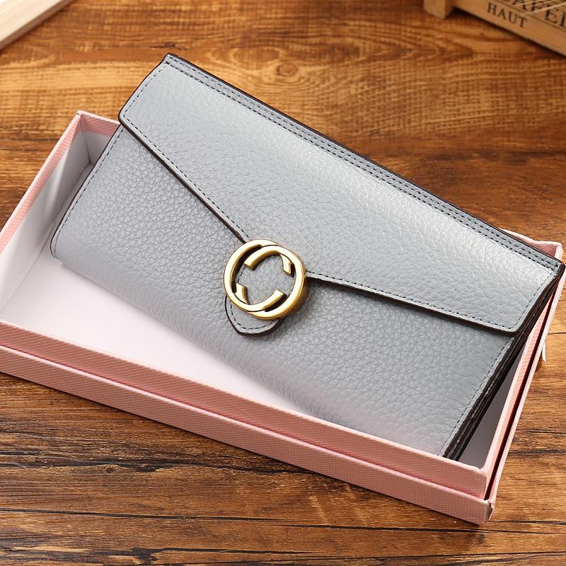 2018 Women Wallet Female Coin Purses Genuine Leather Envelope Bag with Hasp Brand Redo Va Women Elegant Female Women's Wallets