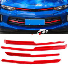 ABS Red Front Center Grille  Cover Trim 4pcs For Chevrolet Camaro 2016 - 2017