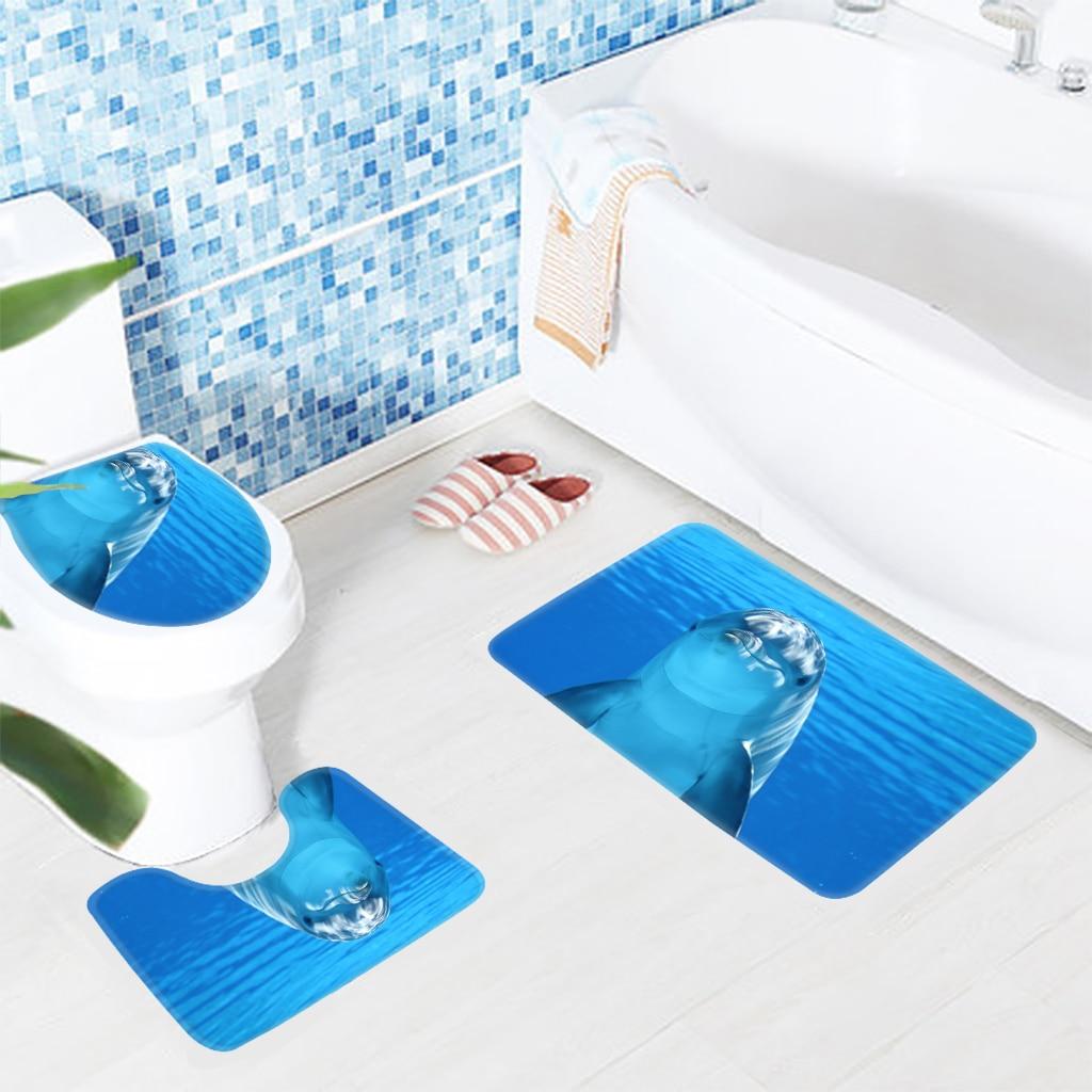 Blue Soft Bathroom Mat Sets Dolphin Underwater Bath Mat Non Slip ...