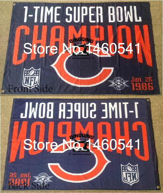 super popular ab2d1 8b14d US $10.0 |Chicago Bears 1 Time Super Bowl Champion Flag 3ft x 5ft Polyester  NFL Banner Flying Size No.4 144* 96cm QingQing Flag-in Flags, Banners & ...