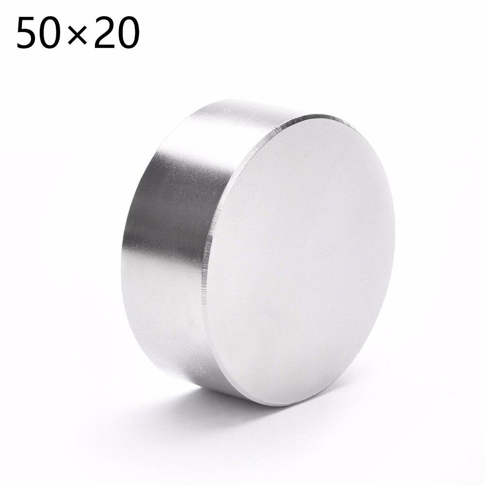 1pc 50mm x 20mm quente poderoso forte ímã 50x20 redondo ndfeb neodímio ímã diâmetro 50*20 n52 terra rara ímã frete grátis
