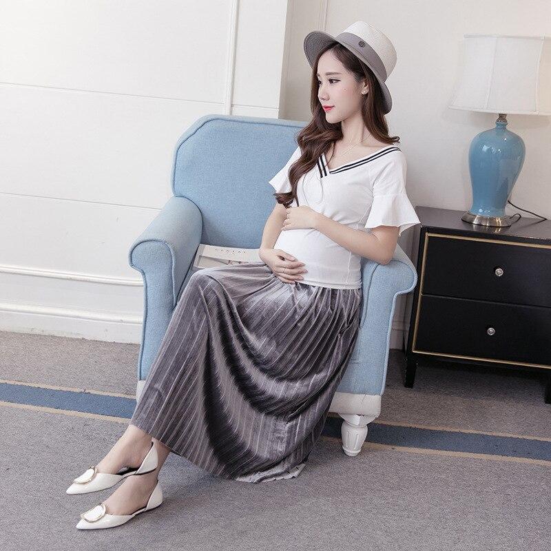Mutterschaft Kleid A-förmigen Samt Rock Schwangere Frauen Bauch Verstellbare Gefalteter Langer Rock