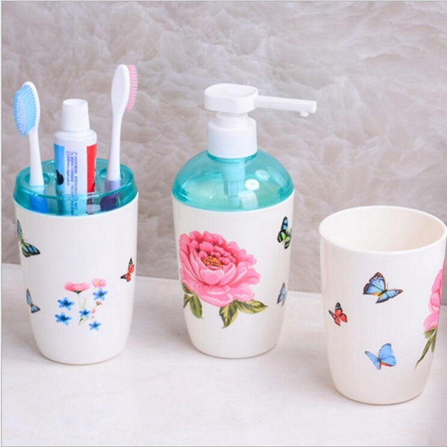 Plastic Bathroom Set High Quality Products Three Piece Gift Box Toothbrush Holder Distributeur