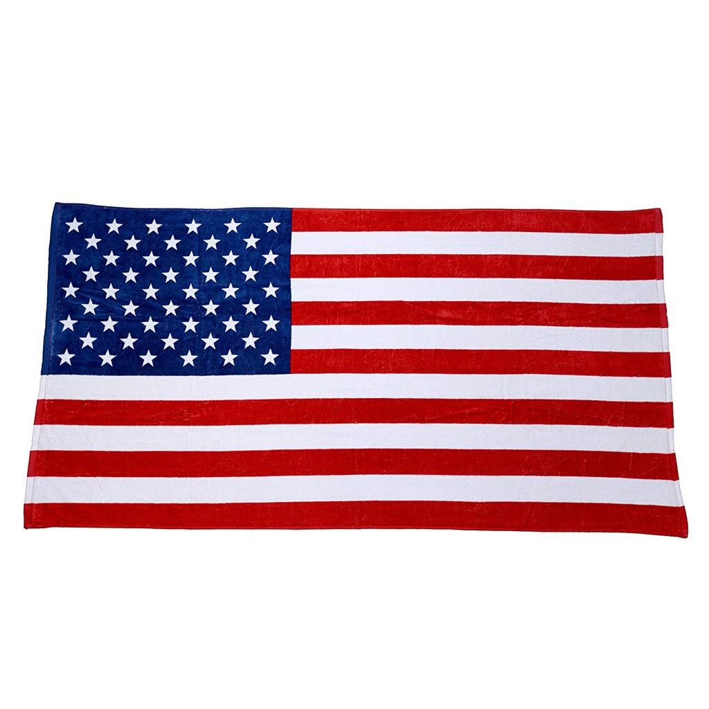 ISHOWTIENDA Independence Day American Flag Beach Towel Sport Yoga Bath Towel 100% Cotton Plush Durable New Arrival