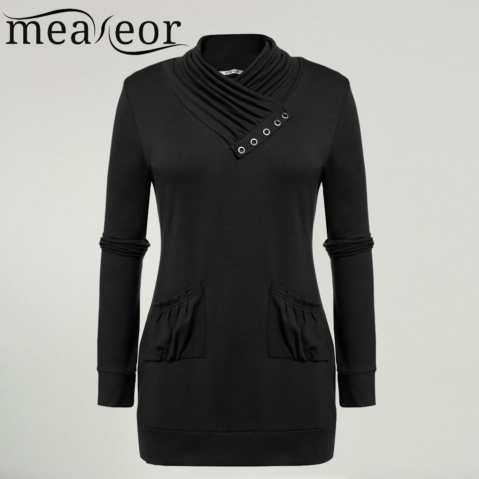 Womens Cowl Neck Pocket Sweatshirt Long Sleeve Pullover Blouse Top Sweater Shirt
