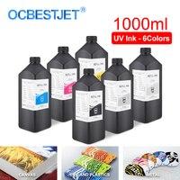 1000ML 6Color/Set LED UV Ink For DX4 DX5 DX6 DX7 Printhead For Epson 1390 R1800 R1900 4880 7880 9880 UV Printer (BK C M Y WH GO)