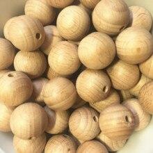 200 шт./лот, 20 мм Буковые деревянные бусины, круглые бусины из натурального бука, сделай сам, аксессуары для рукоделия, необработанные деревянные бусины, амулеты