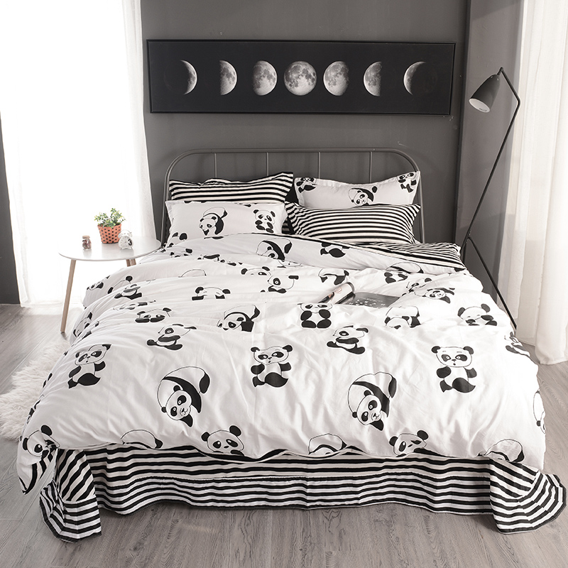 Cotton Fleece Winter White Black Color Bedding Sets King Queen Twin Size Kids Boys Adults Fit