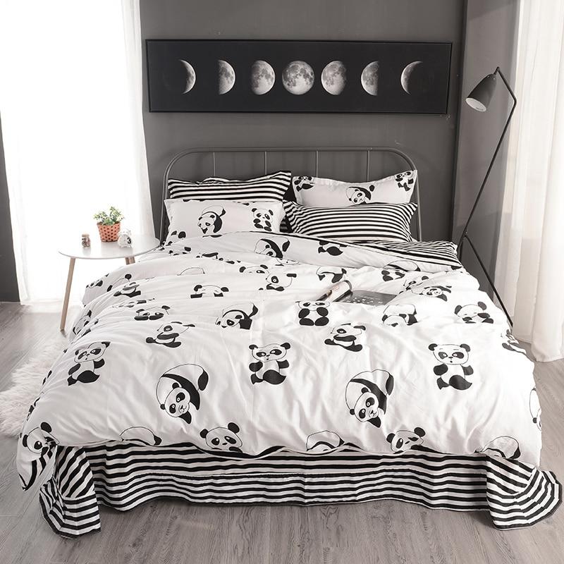 Cotton Fleece Winter White Black Color Bedding sets King ...