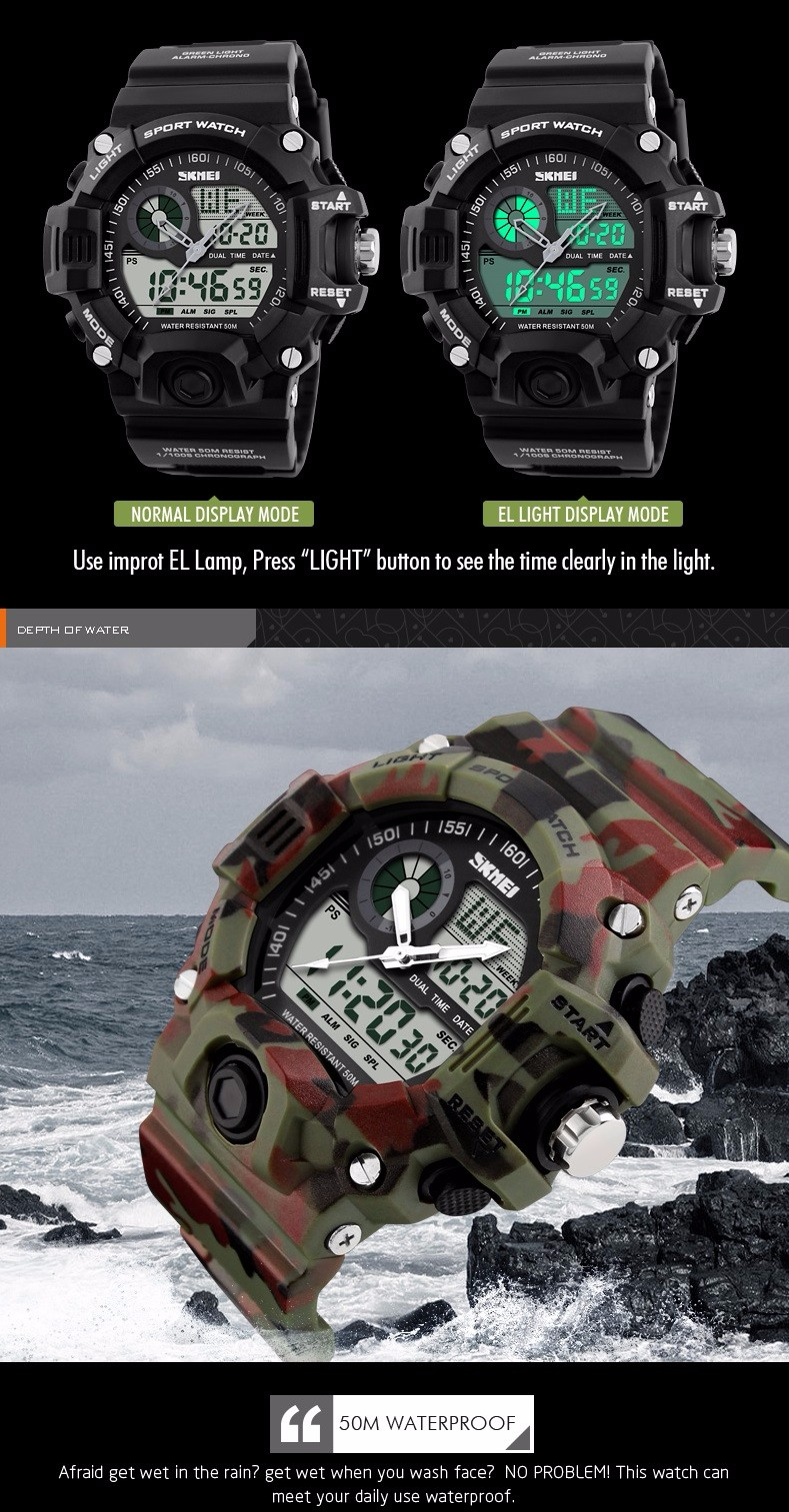 SKMEI S-SHOCK Men LED Digital Army Military Watch