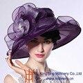 June'syoung Летом Новая Мода Органзы Шляпы 100% Органзы Благородный Фиолетовый Широкими Полями Вс hat Новые Поступления Специальные Дизайн Fedoras