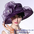 June'syoung Summer New Fashion Organza Hats 100% Organza Noble Purple Wide Brim Sun hat New Arrivals Special Design Fedoras
