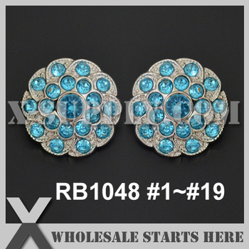 Color Option: RB1048 #1~#19 25mm Acrylic Rhinestone Button in Silver Base for Baby Pin