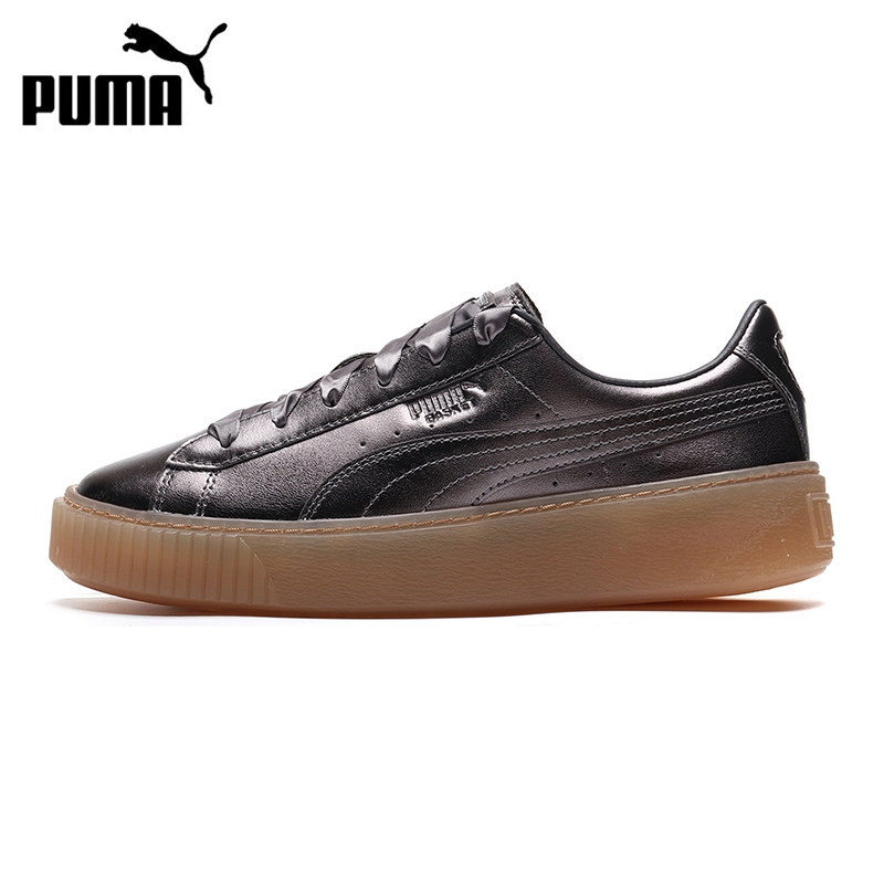 Original New Arrival  PUMA BASKET PLATFORM LUXE Women's Skateboarding Shoes Sneakers