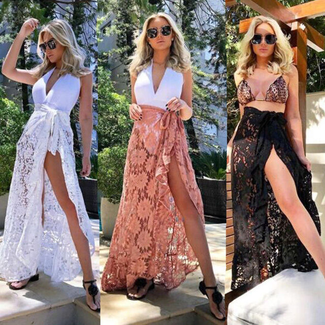 c5359239ab7 2018 New Women White Black Lace Beach Skirt Sexy Women Bikini Cover Up  Swimwear Sheer Beach Maxi Wrap Skirt Sarong Pareo Dress