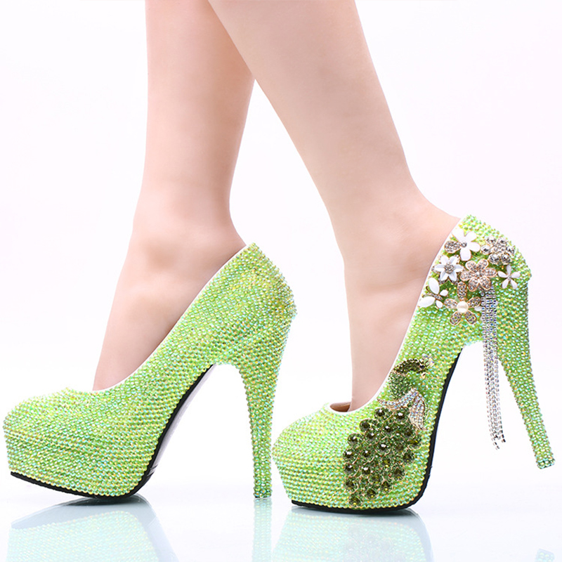 ФОТО 2017 Sparking Green AB Color Crystal Bridal Dress Shoes Performance Dancing High Heels Shoes Stiletto Banquet Heel Wedding