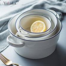Yilala Big Bowl Ceramic Dinner Dishes White Color Tableware Porcelain Dinnerware for Soup Salad Noodle