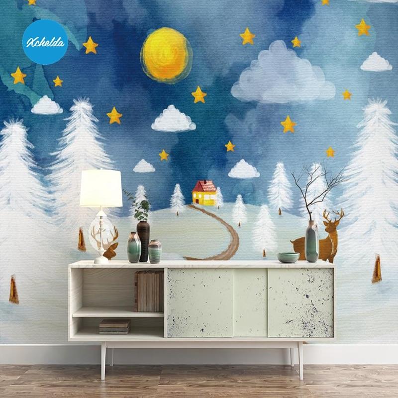 XCHELDA Custom 3D Wallpaper Design Watercolor Snow Photo Kitchen Bedroom Living Room Wall Murals Papel De Parede Para Quarto custom baby wallpaper snow white and the seven dwarfs bedroom for the children s room mural backdrop stereoscopic 3d