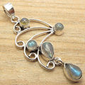 Shines From Every Angle ! Blue Fire LABRADORITE 5 Gem Pendant,  Silver Plated
