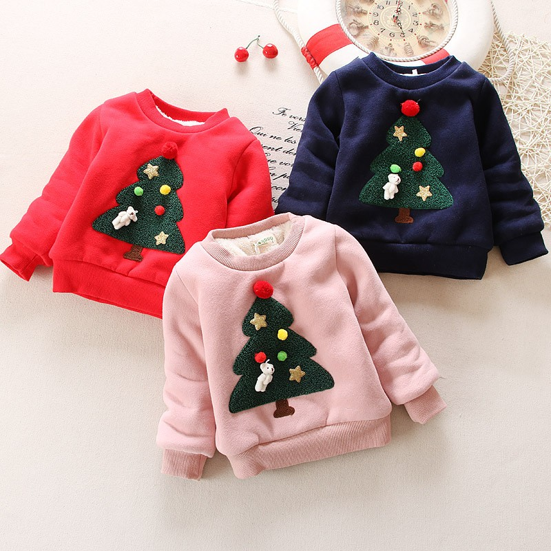 BibiCola Winter Children Kids Boys Girls Christmas Sweater baby Plus Velvet Thick Sweatshirts Girls Christmas tree Warm Tops
