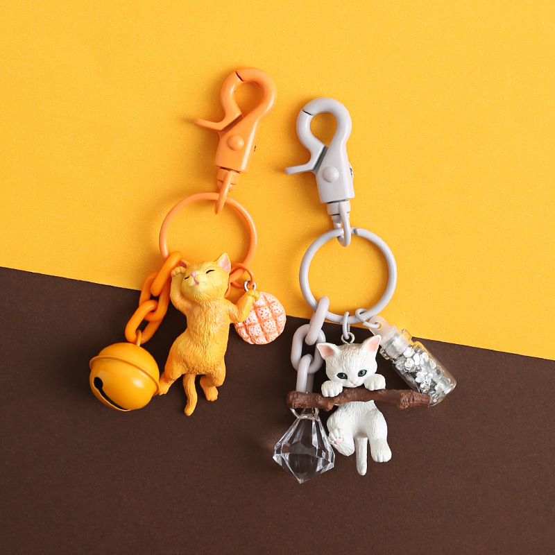 2019 NEW Autos Keyfob Cute Cat Car Key Ring Animal Dolls Keyring Birthday Gift Lovely Key Chain Decoration Interior Accessorie