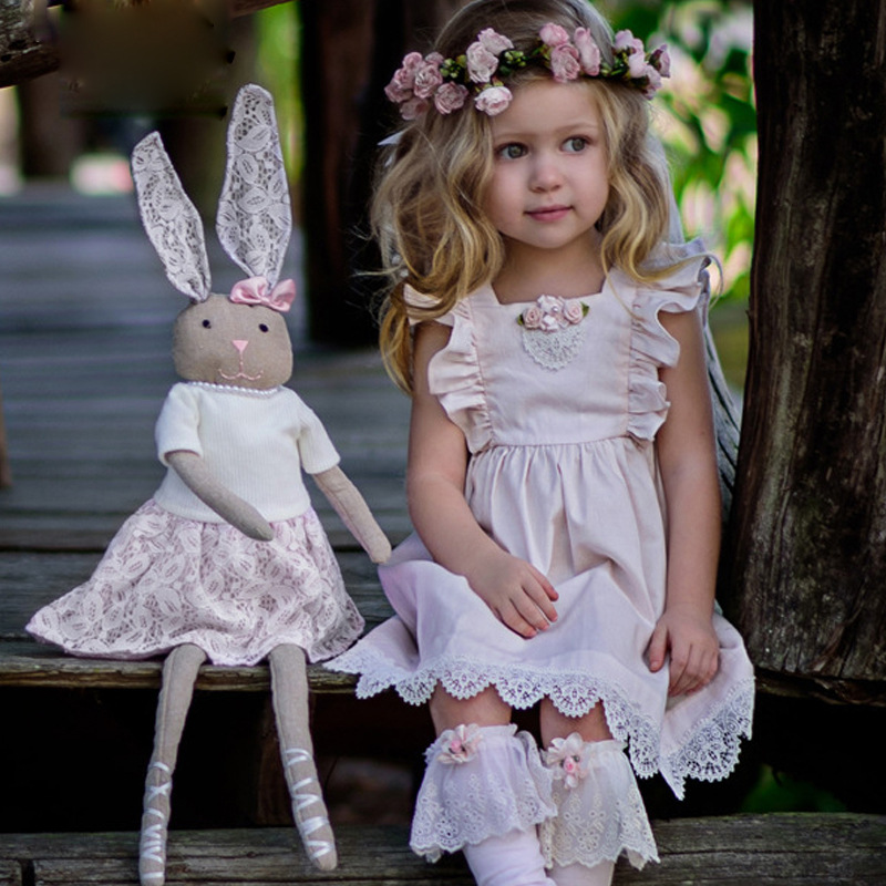 2018 Summer Flower Girls Dress Cotton Lace Kids Dresses For Girls Pink Infant Dress Flying Sleeve Party Wedding Toddler Clothes girls wedding dress 2018 cotton summer