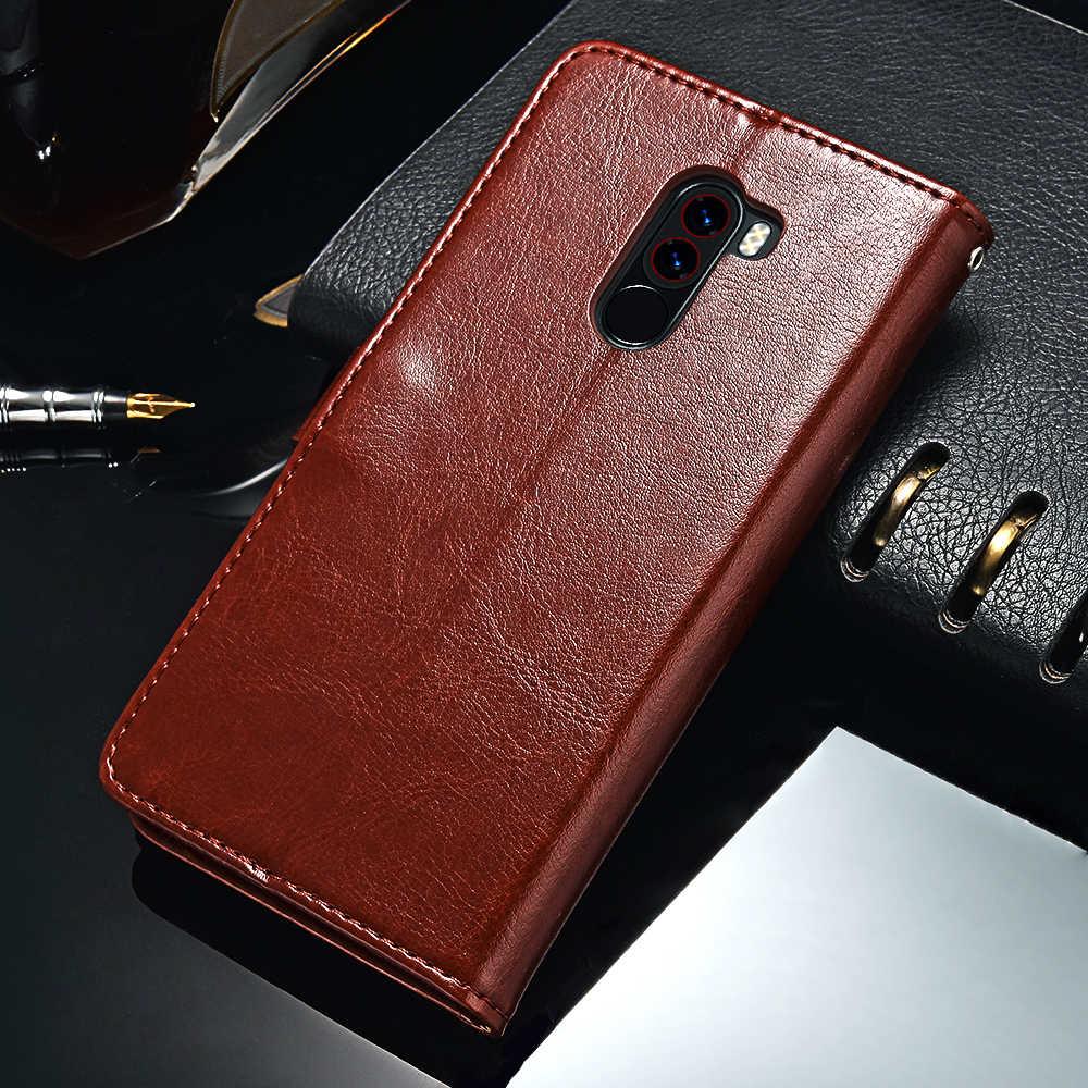TOMKAS Pocophone F1 étui POCO F1 Global portefeuille à rabat avec support Vintage en cuir Silicone couverture arrière étui pour Xiaomi Pocophone F1