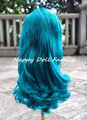 Blyth scalp with hair for normal skin doll, Emerald blue hair, 4