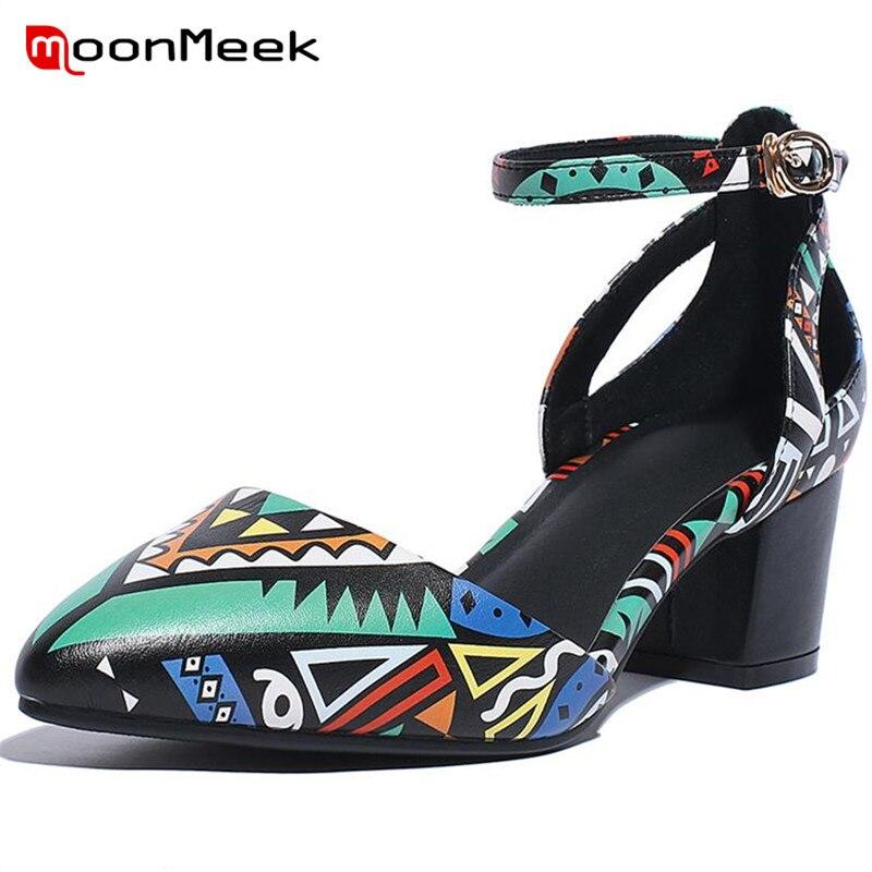 MoonMeek 2018 Summer shoes lnside genuine leather high heels shoes big size 33 43 women pumps