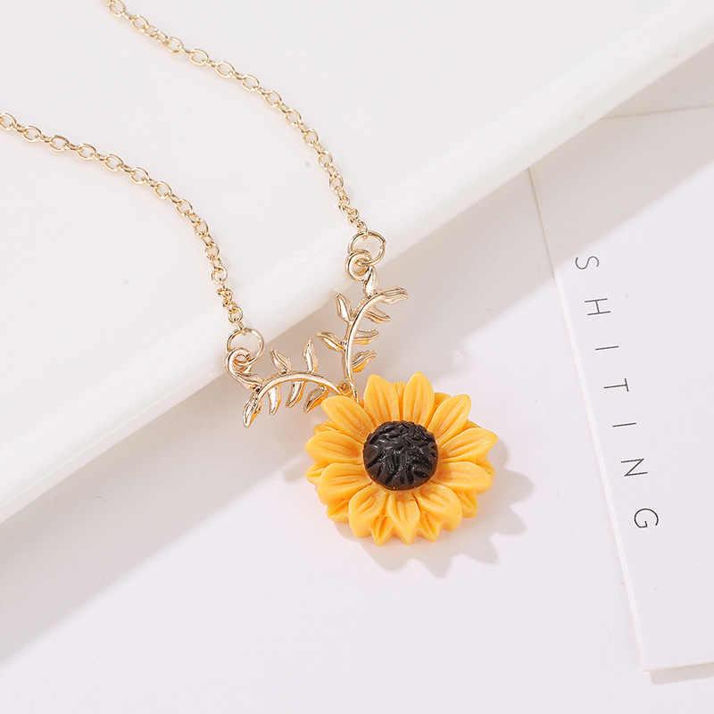 2 sztuk/zestaw zestaw biżuterii damskiej złoty kolor słonecznika projekt zestaw biżuterii naszyjnik kolczyk damska biżuteria