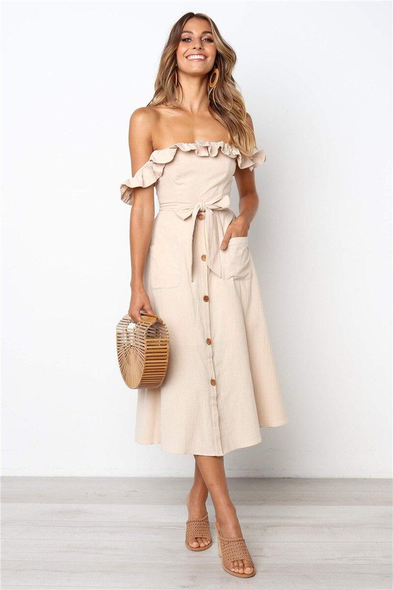 Backless Sexy Women Summer Dress 19 Ruffles Off Shoulder Beach Dress Buttons Strapless Long Sundress Boho Midi Dress Ladies 31