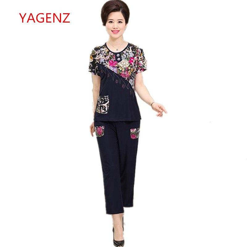 2018 Weibliche Kleidung Neue 2 Stück Set Frauen Mode Sommer Kleidung Für Frauen Printing Hose Und Top Plus Größe Zwei Stück Sets K3799
