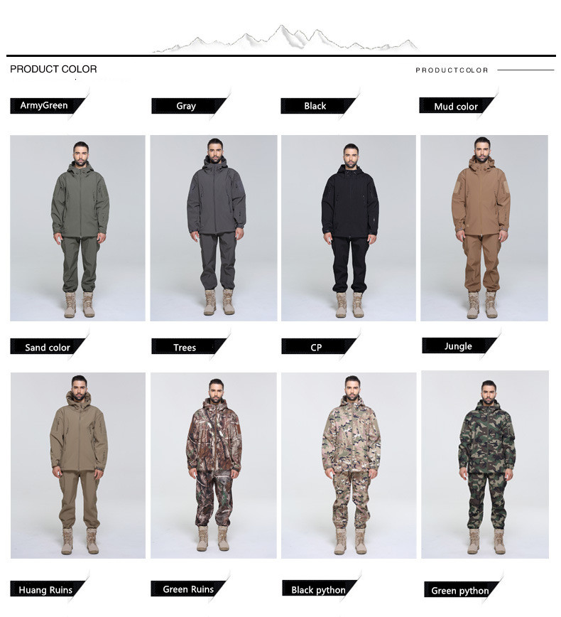 Tactical Gear Soft Shell TAD Camouflage Outdoor Jacket Set Men Army Sport Waterproof Hunting Clothes Set