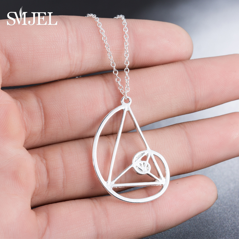 SMJEL Dropshipping Gothic Triangle Spirl Necklaces <font><b>Fibonacci</b></font> Golden Ratio Necklace Architecture Jewelry Graduation Gift Men N274 image