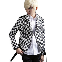 Men Leather Jacket Black White Plaid Fashion Motorcycle Jacket Male Punk Rock Outwear Slim Fit Coat Stage Costumes