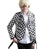 Hombres chaqueta de cuero chaqueta de la motocicleta masculina del punk rock negro blanco plaid moda outwear slim fit escudo stage trajes