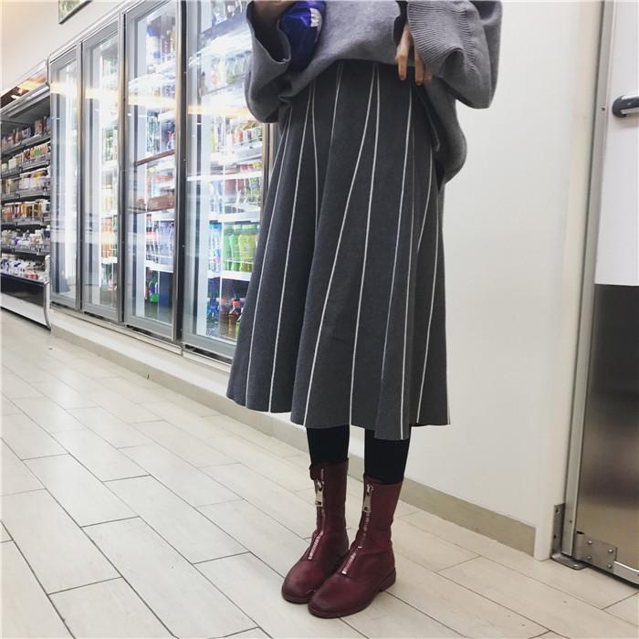 HTB17IOdOVXXXXanXXXXq6xXFXXXS - FREE SHIPPING Womens Skirt Vintage  Line Striped Slim High Waist Knitted Long Black Grey JKP248