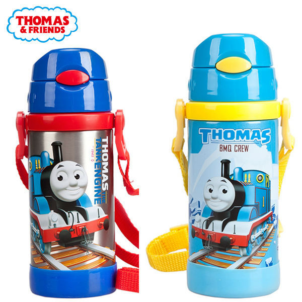 24ab667c8 Thomas Stainless Steel Vacuum Flask Thermos Children Water Bottle With Straw  Straps Kid Water Kettle