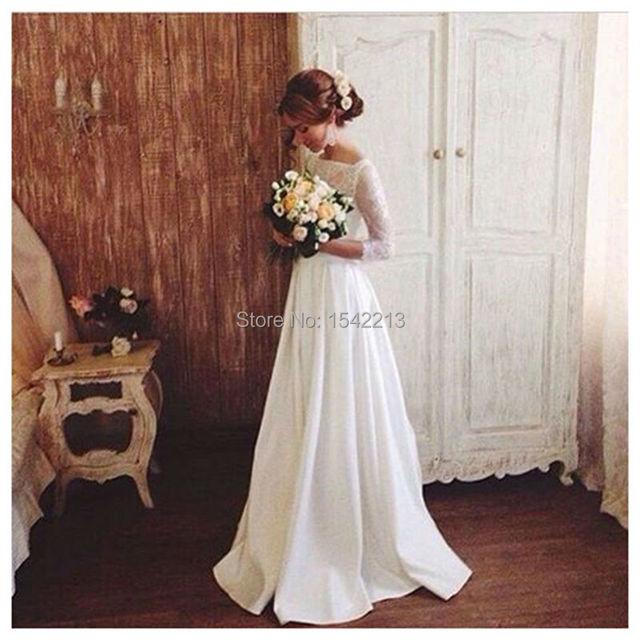 Proste Koronki Suknia ślubna Z Rękawami Eleganckie Plus Rozmiar