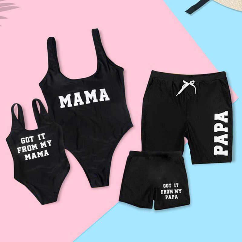 Keluarga Yang Sesuai dengan Baju Renang Ibu dan Anak Baju Renang Huruf Mommy dan Saya Pakaian Ibu Daufhter Ayah Anak Baju Renang Beach Celana Pendek