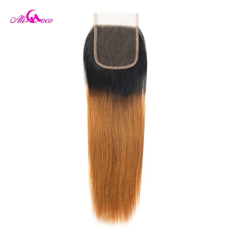 Ali Coco Brazilian Straight 4x4 Lace Closure 1B 30 Human Hair Closure With Baby Hair 8-22 Inch Swiss Lace Closure Remy Hair