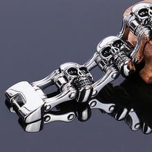 Ювелирных изделий амулеты для мужчин браслет из нержавеющей стали 316L тяжелый Байкер ювелирные изделия для мужчин череп браслет