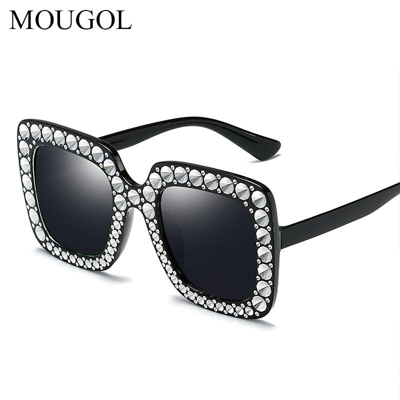 Mougol Oversize sunglasses Top Rhinestone Luxury Brand Designer Sunglasses for Women Square Shades Fashion Retro