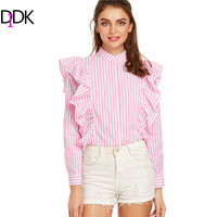 DIDK Pink Vertical Striped Hidden Button Ruffle Blouse Spring Women Shirts Band Collar Long Sleeve Cute
