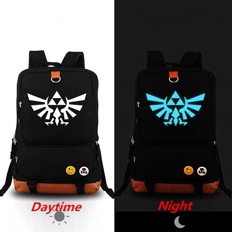 cde35a9ac7b 2018 nuevo La leyenda de Zelda mochila luminosa mochila de lona estudiante  unisex Bolsas de viaje bolsa feminina
