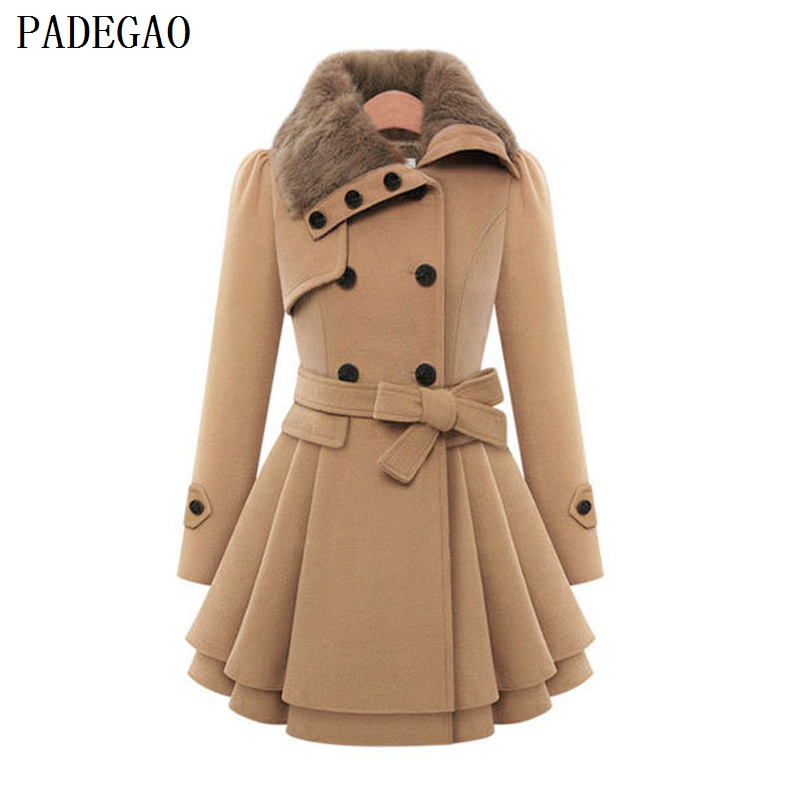 PADEGAO Black Double Breasted Wool Coat Turn Down Collar Cotton Thicken Jackets Coats Women Autumn Winter