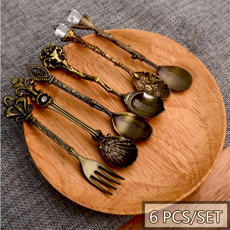 6 Pcs/Set Spoon Coffee Spoon Set Vintage Table Spoon Antique Tea Spoons Coffee Royal Style Metal Carved Fork Tablespoons