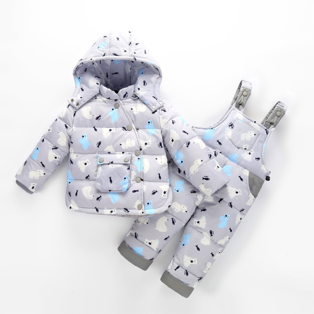 2017 Kids Baby Boys Down Jacket Sets Children Girls Fashion Coat Suits Clothes Strap Pants Two Piece Suit Baby Warming Clothing стоимость